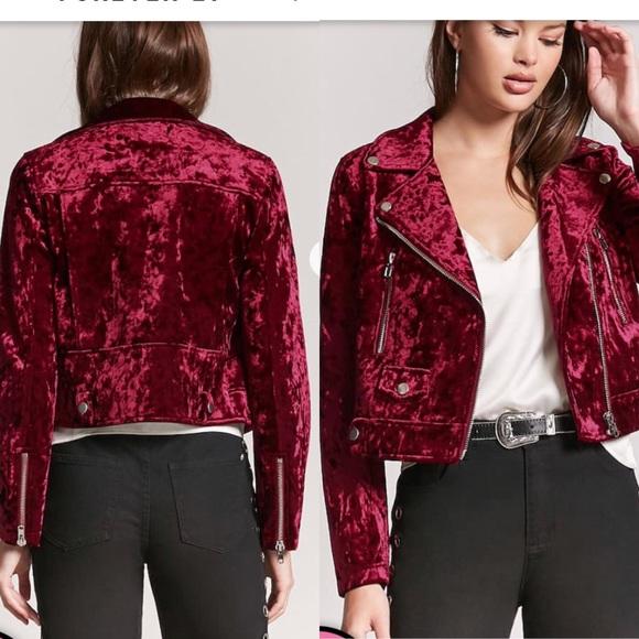 f0304697cea38 Forever 21 Crushed Velvet Red Moto Jacket